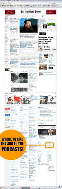 New York Times Homepage - showing podcast link